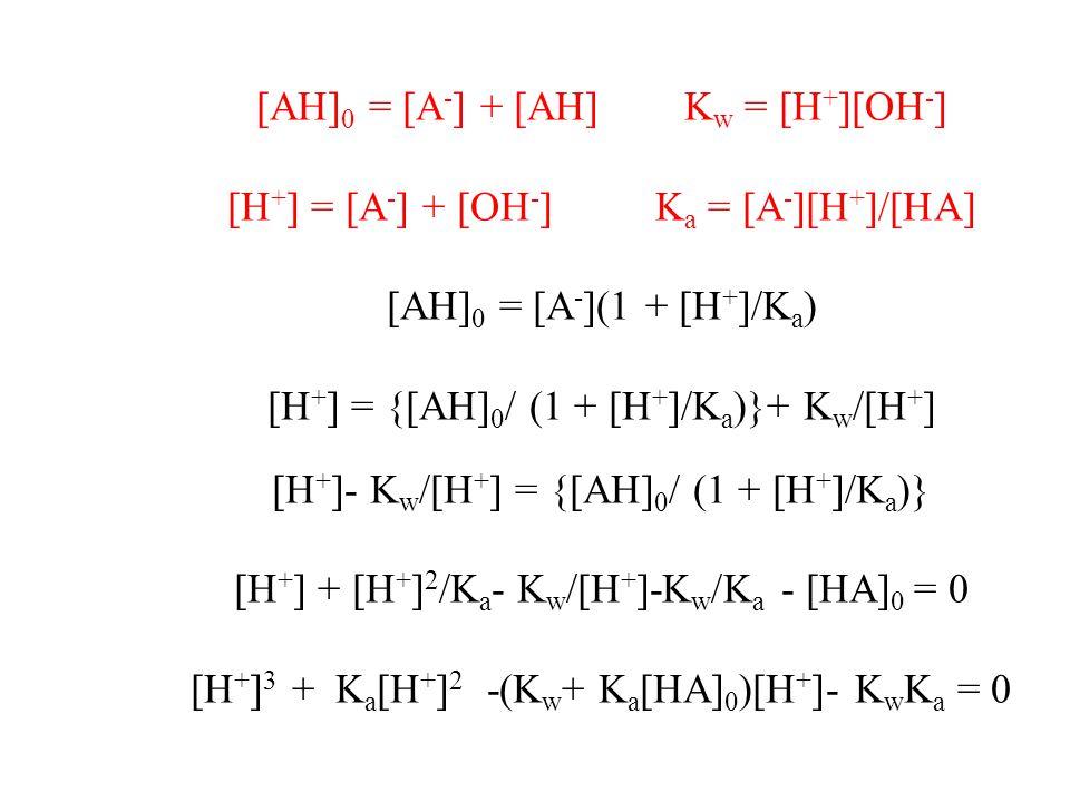 [AH]0 = [A-] + [AH] Kw = [H+][OH-]
